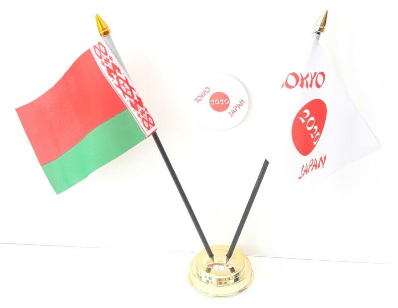 Belarus & Tokyo Japan Olympics 2020 Friendship Desk Flags & 59mm BadgeSet