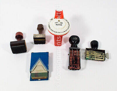 Vintage Lot Misc Rubber Office Stamps Rotex Label Crown Homs M-2 Shachihata