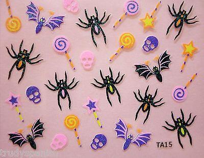 Halloween Nagel Kunst Aufkleber Neon Schädel Süßigkeit Fledermäuse Schwarz - Halloween Nagel