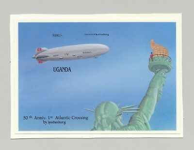 Uganda Zeppelins, Statue of Liberty 1v S/S Chromalin Proof Unissued Design