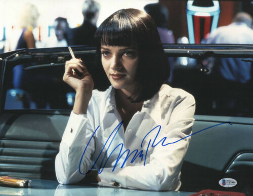 UMA THURMAN SIGNED PULP FICTION 11X14 PHOTO AUTOGRAPH BAS BECKETT COA 56