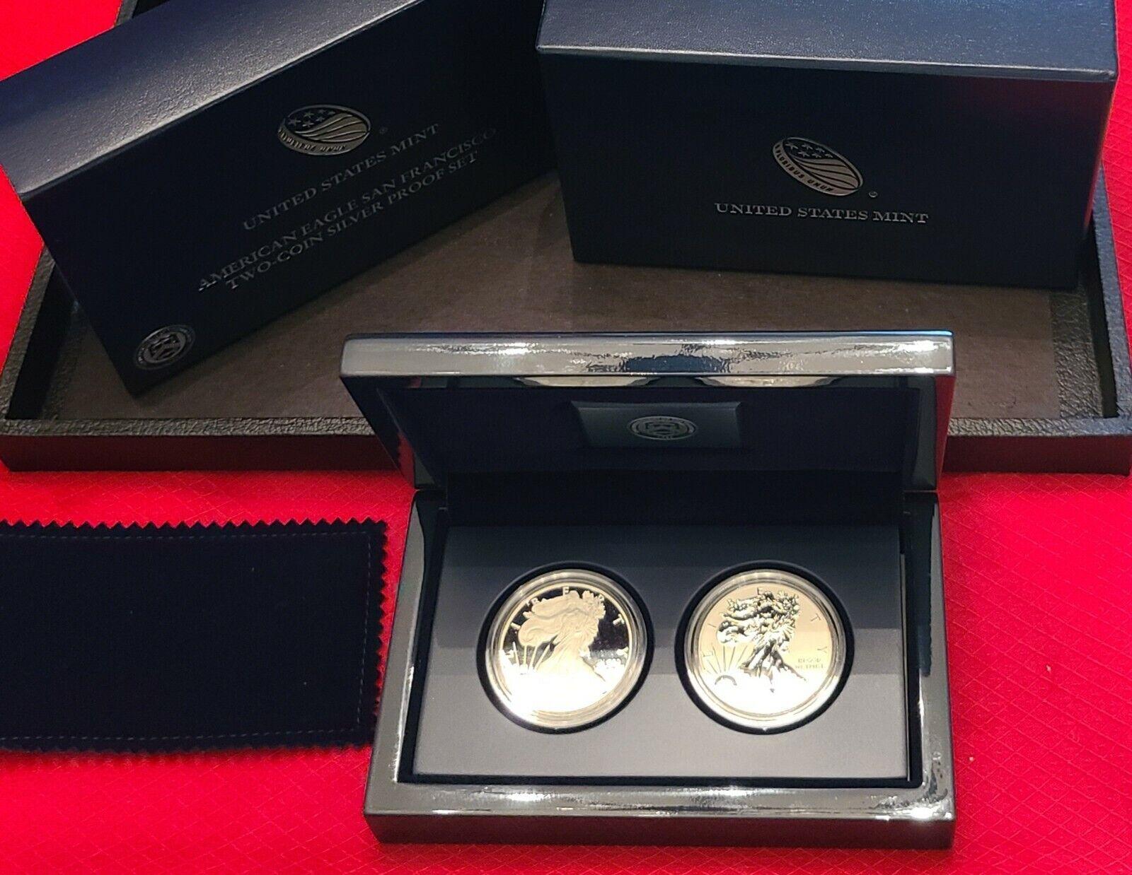 2012-S American Silver Eagle San Francisco Mint 2 Coin Set  - $162.50