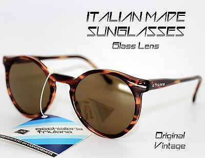 Sonnenbrillen Männer Frau Runde Braun Tortoise Vintage 90 Made in Italy