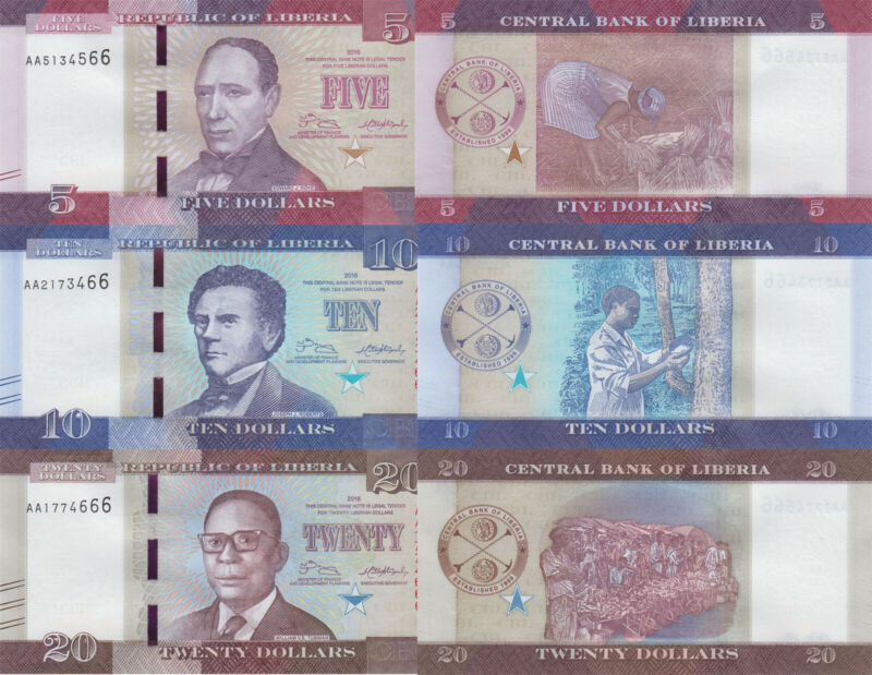Liberia 3 Note Set: 5, 10 & 20 Dollars (2016) - p31, p32 and p31