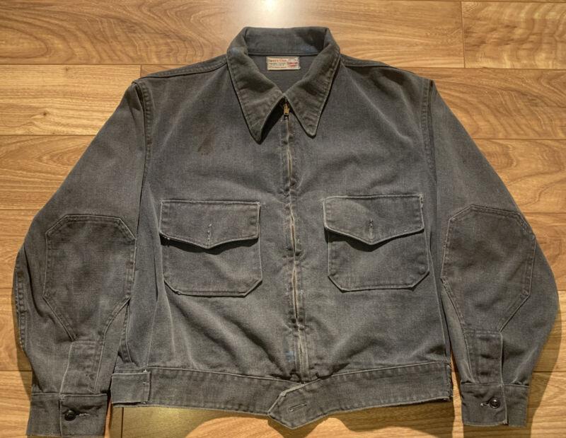 VTG 1950's Sweet-Orr Union Made Mechanic Workwear Denim Jacket Ace Of Spades