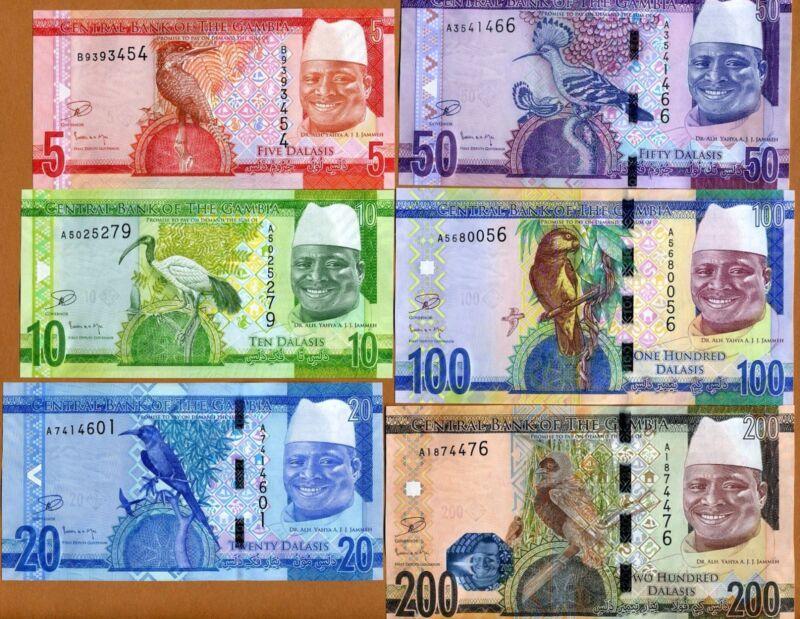 SET Gambia, 5;10;20;50;100;200 Dalasis, ND (2015), P-New, re-designed, UNC
