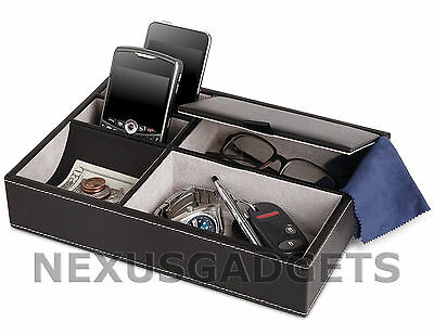 Men's 5 Compartment Valet Jewelry Box Mens Dresser Wallet Tray Office (Leather Office Dresser)
