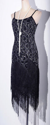 20sGatsby 1920's Flapper Cocktail Charleston Black Dress Fringed Plus Size D4036