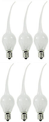 6 Pack - Silicone Dipped Chandelier Candle Lite Bulbs, 6 Watt Candelabra Base S6