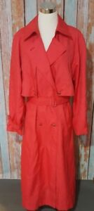 John Weitz Vintage Size 12 Pink Belted Trench Coat Lined Full Length
