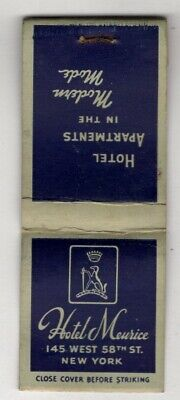 Hotel Meurice 58th Street New York City Matchbook Cover B28