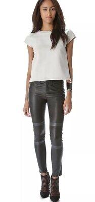 New J Brand 29x28 Irina Black Leather Pants Legging Grey Tonya Maria Skinny Moto