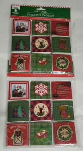 Merry Christmas Happy Holiday 3D Gift Tags Stickers 2 Packs 36 Pieces