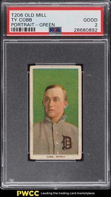 1909-11 T206 Ty Cobb GREEN PORTRAIT, OLD MILL PSA 2 GD