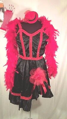 SALOON/BURLESQUE Black/Red SATIN DRESS w/ Accessories Boa-Hat-Stockings Costume  - Red Burlesque Dress