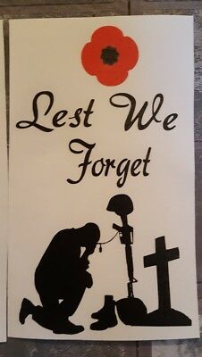 Lest we forget Vinyl Decal Wine Bottle Sticker BOTTLE NOT INCLUDED
