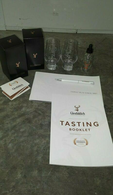 Glenfiddich Scotch Whisky 9 pc Gift Set Glencairn Glass, Box, Pen, Book, Dropper