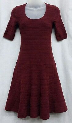 MOSSIMO XS Burgundy Short Sleeve Scoop Neck A line Striped Sweater Dress