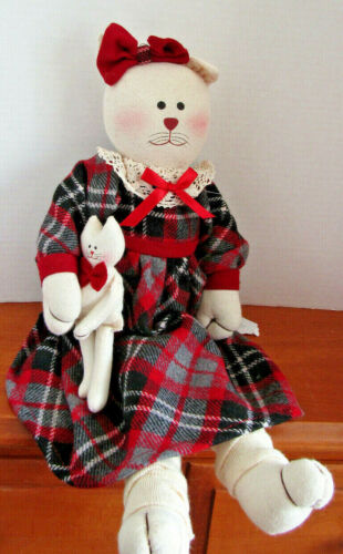 Soft Stuffed Fabric Cat  Red Grey Plaid Dress  New  18 inches