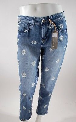 Womens Vintage Daisy (2014 NWT WOMENS ELEMENT BETSY DENIM CAPRI JEANS 27 $60 vintage blue daisy flower)