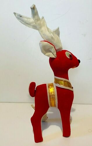 Vintage 1950s Red Velvet Christmas Reindeer Japan, rhinestone