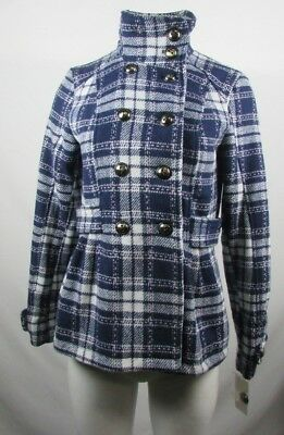 Pink Envelope Juniors Girls Double Breasted Tweed Pea-Coat Navy & White Size M
