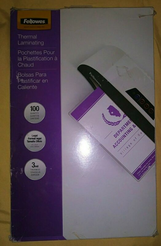 """Fellowes Laminating Pouches 100 PACK Legal 8"""" x 14.5"""" 3ml New (Damaged Box)"""