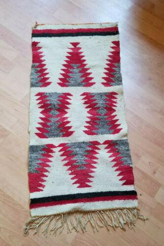 Vintage Navajo Native American Handwoven Tapestry / Rug Broken Diamonds Red Gray