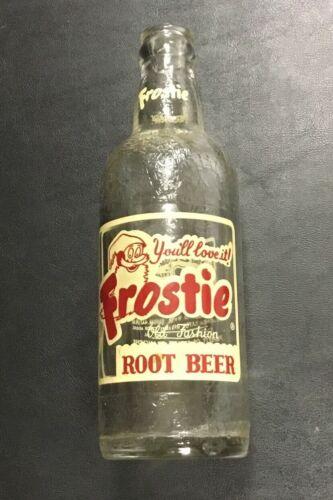 Frostie Root Beer 12 oz Soda Pop Advertising Glass Bottle Baltimore Md Vintage