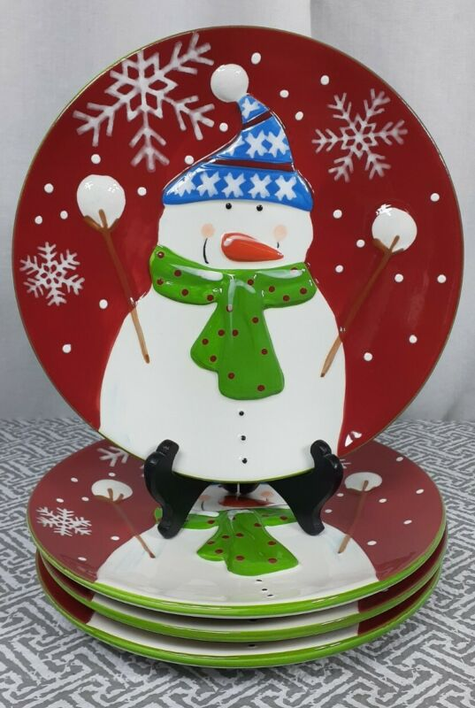 "Set of (4) Pier 1 Jolly Holiday Snowman 9"" Round Red Salad Dessert Plate Platter"