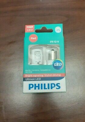 New Philips Ultinon LED Light 1156 Red Two Bulbs Back Up Reverse Replacement