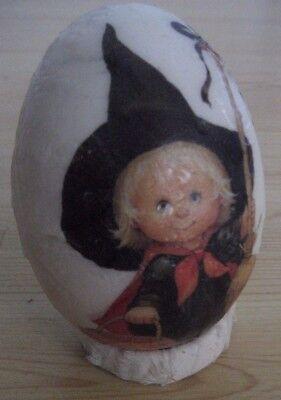 Halloween Ghost Eggs (Vtg HALLOWEEN PUMPKIN Witch WAX EGG on Stand HANDMADE Goblin Ghost LARGE)