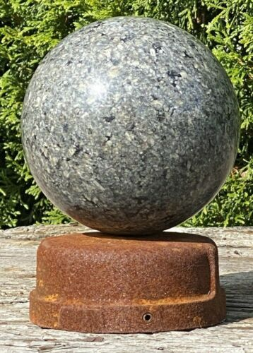 "Vintage 4.75"" Polished GRANITE BALL, Iron Cap Base ~ Architectural, Fence Finial"