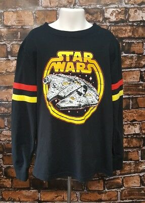 - Star Wars Millennium Falcon Han Solo Long Sleeve Shirt Youth Size S Black