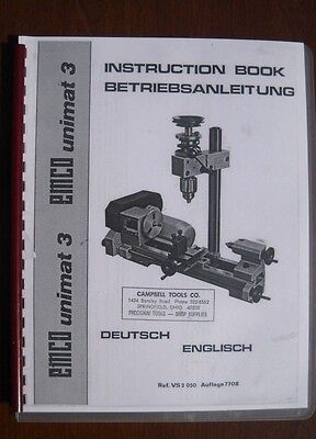 Unimat Mk 3 Lathe Mill Combination User Manual Printed And Bound Copy Cd-rom