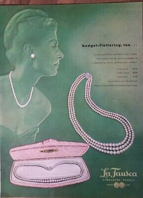 1949 La Tausca white pink pearl necklace vintage jewelry color ad