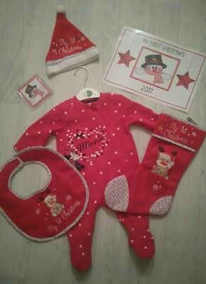 NEW My First Christmas Embroidered Baby Gift Set Hat Bib Sleepsuit Placemat Etc ()