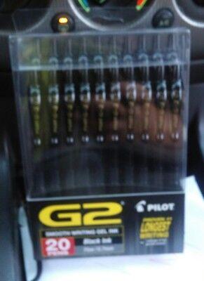 Pilot G2 Black Fine 0.7mm 20 Pack Gel Ink Pens