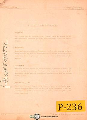 Powermatic Model 80 20 Band Saw Parts List Manual