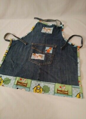 Recycled Kaleidoscope - Children's Apron Hand Made of Recycled Denim & Cotton for Crafts & Pretend Play