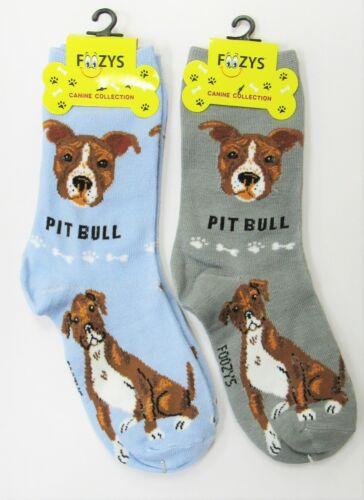 2 Pairs Womens Foozys Pit Bull Terrier Dog Novelty Crew Socks New 1 Gray 1 Blue