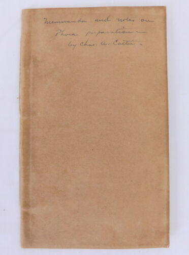 19th Century Hand Written Experiment Book Phora Preparation - Charles A. Catlin
