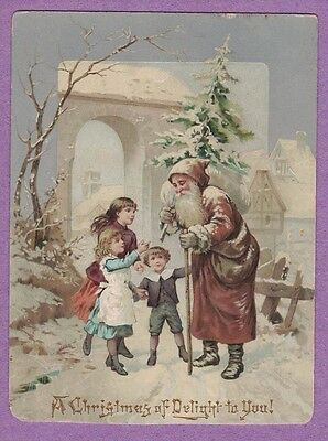 0617I VTG VICTORIAN CHRISTMAS CARD OLD WORLD SANTA BROWN ROBE KIDS W. HANGELBERG