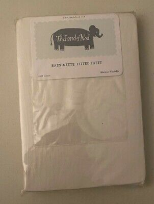 Land of Nod 100% Cotton Bassinette Bassinet Fitted Sheet Ivory