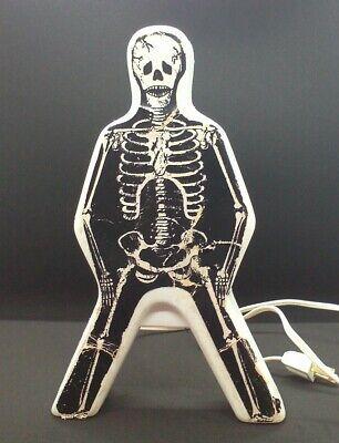 Vintage Halloween Plastic Skeleton Blow Mold Table Top Light Works Bones