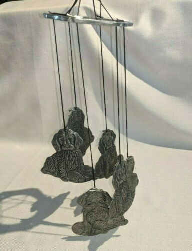 VINTAGE CARSON FREEPORT PEWTER CAROUSEL DOGS WIND CHIMES 1990