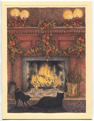 1 BLACK CAT KITTEN CHRISTMAS FIREPLACE PINE CONES WILLIAMSBURG VA GREETING CARD