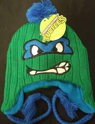 New Teenage Mutant Ninja Turtles Leonardo Face Peruvian Pom Beanie Hat TMNT Leo