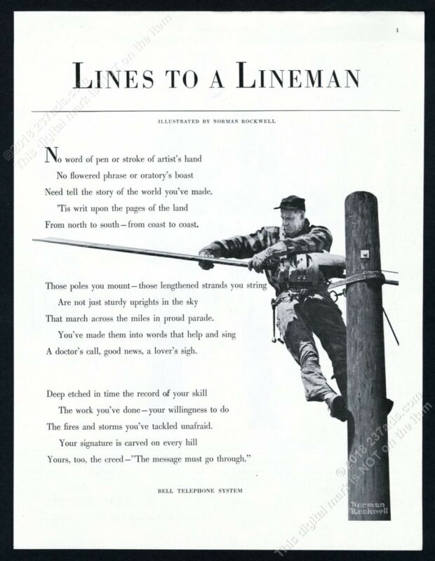 1953 Norman Rockwell photorealistic lineman art Bell Telephone vintage print ad