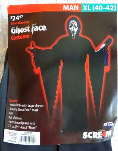 Adult Scream Ghost Face Halloween Costume Men Size XL New in Pkg